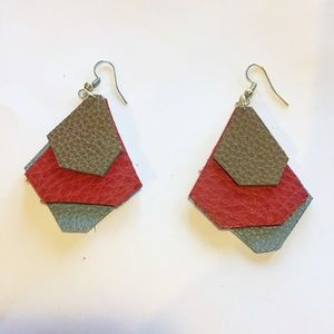 Handmade Geometric Leather Earrings